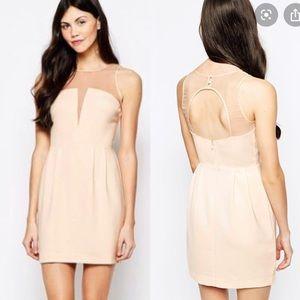 ARYN K Mini Dress with Sheer Neckline